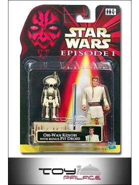 Star Wars: Episode 1 - Obi-Wan Kenobi Figur w/ Bonus Pit Droid weiß