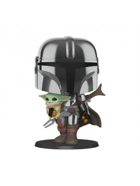 Star Wars: The Mandalorian - The Mandalorian holding The Child - Super Sized POP! Figur
