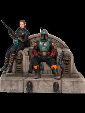 Star Wars: The Mandalorian - Boba Fett & Fennec on Throne - Deluxe Art Scale Statue